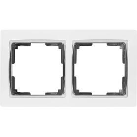 Рамка для розеток и выключателей Werkel Snabb 2 поста, цвет белый/хром