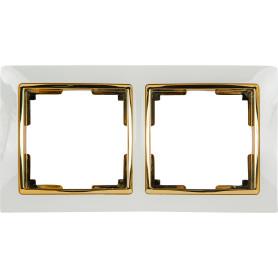 Рамка для розеток и выключателей Werkel Snabb 2 поста, цвет белый/золото