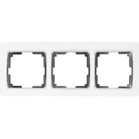 Рамка для розеток и выключателей Werkel Snabb 3 поста, цвет белый/хром