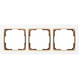 Рамка для розеток и выключателей Werkel Snabb 3 поста, цвет белый/золото