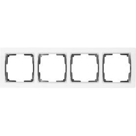 Рамка для розеток и выключателей Werkel Snabb 4 поста, цвет белый/хром