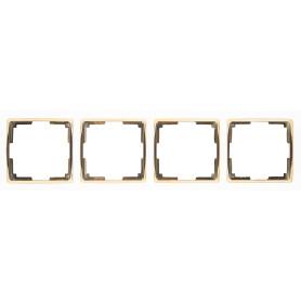 Рамка для розеток и выключателей Werkel Snabb 4 поста, цвет белый/золото
