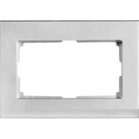 Рамка для двойных розеток Werkel Stark, цвет серебряный