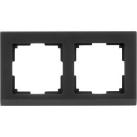 Рамка для розеток и выключателей Werkel Stark 2 поста, цвет чёрный матовый