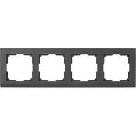 Рамка для розеток и выключателей Werkel Stark 4 поста, цвет чёрный матовый