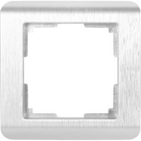 Рамка для розеток и выключателей Werkel Stream 1 пост, цвет серебряный рифленый