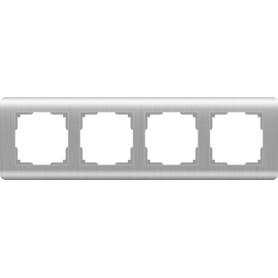 Рамка для розеток и выключателей Werkel Stream 4 поста, цвет серебряный рифленый