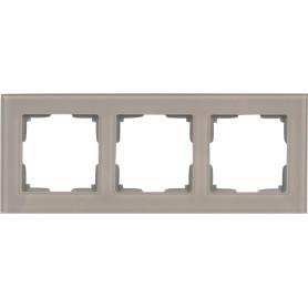 Рамка для розеток и выключателей Werkel Favorit 3 поста, стекло, цвет дымчатый
