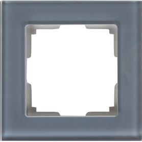Рамка для розеток и выключателей Werkel Favorit 1 пост, стекло, цвет серый