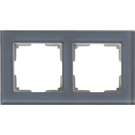 Рамка для розеток и выключателей Werkel Favorit 2 поста, стекло, цвет серый