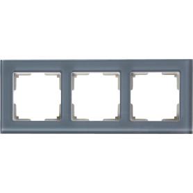 Рамка для розеток и выключателей Werkel Favorit 3 поста, стекло, цвет серый