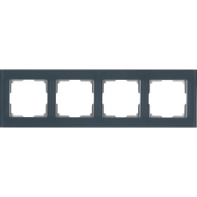 Рамка для розеток и выключателей Werkel Favorit 4 поста, стекло, цвет серый