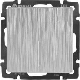 Выключатель встраиваемый Werkel 1 клавиша с подсветкой, цвет серебряный рифленый