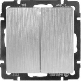 Выключатель встраиваемый Werkel 2 клавиши, цвет серебряный рифленый