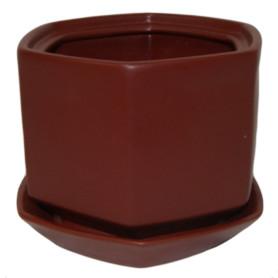 Горшок цветочный Goncar Меркурий 14x18x14 см v1.7 л керамика бордовый