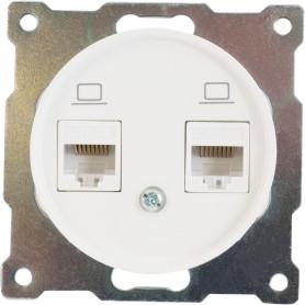 Розетка компьютерная двойная встраиваемая Onekey Florence RJ45, UTP cat 5e, цвет белый