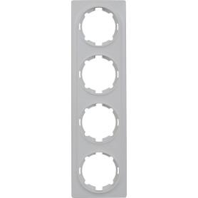 Рамка для розеток и выключателей Onekey Florence 4 поста, цвет белый