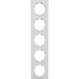 Рамка для розеток и выключателей Onekey Florence 5 постов, цвет белый