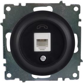 Телефонная розетка встраиваемая Onekey Florence RJ11, цвет чёрный