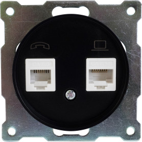 Телефонная/компьютерная розетка встраиваемая Onekey Florence RJ11/RJ45, UTP cat 5e, цвет чёрный