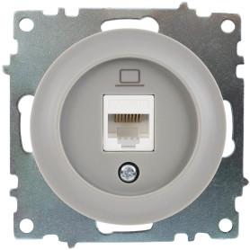 Розетка компьютерная встраиваемая Onekey Florence RJ45, UTP cat 5, цвет серый