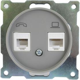 Телефонная/компьютерная розетка встраиваемая Onekey Florence RJ11/RJ45, UTP cat 5e, цвет серый