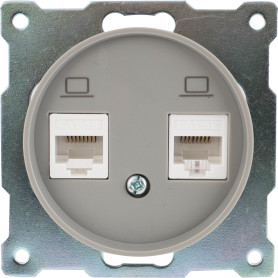 Розетка компьютерная двойная встраиваемая Onekey Florence RJ45, UTP cat 5e, цвет серый