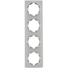 Рамка для розеток и выключателей Onekey Florence 4 поста, цвет серый