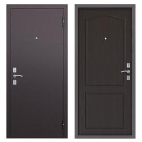 Дверь металлическая Стеф, 860 мм, левая, цвет орех тёмный
