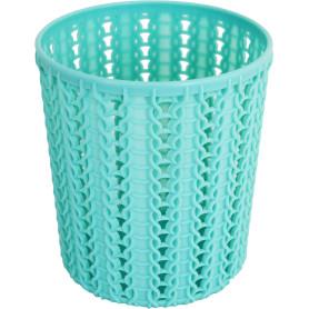 Стакан для зубных щеток «Вязание» 100х110 мм, цвет морская волна