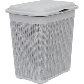 Корзина для белья «Вязание», 42х31.5х45.5 см, 40 л, цвет серый