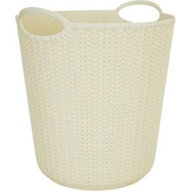 Корзина для мусора «Вязание», 260х290х260 мм, 10 л, цвет слоновая кость