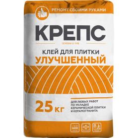 Клей для керамогранита Крепс «Улучшенный», 25 кг, цвет серый