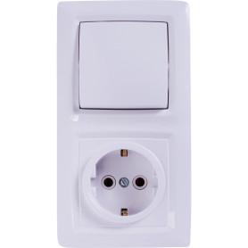 Блок выключатель с розеткой встраиваемый Reone 1 клавиша, с заземлением, цвет белый