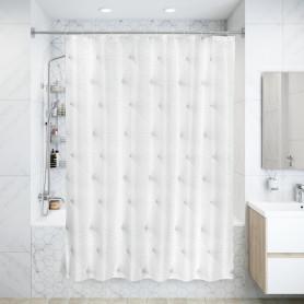 Штора для ванны Fan Art, 180х180 см, полиэстер, цвет белый/серый