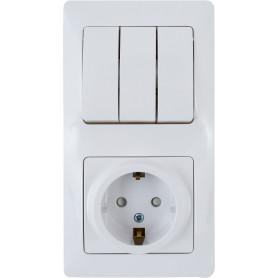 Блок выключатель с розеткой встраиваемый Schneider Electric Glossa 3 клавиши, с заземлением, со шторками, цвет белый