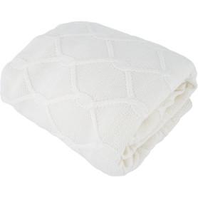 Плед вязаный «Ромб», 180х200 см, акрил, цвет белый