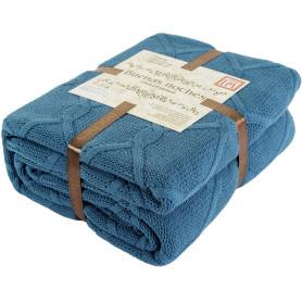 Плед вязаный «Ромб», 180х200 см, акрил, цвет синий