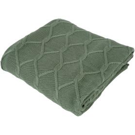 Плед вязаный «Ромб», 180х200 см, акрил, цвет зелёный