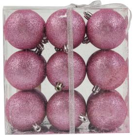 Набор ёлочных шаров «Парча», пластик, цвет розовый, 60/18 шт.