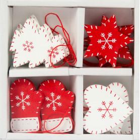 Набор ёлочных украшений, 12.5 см, цвет кремовый/красный, 12 шт.