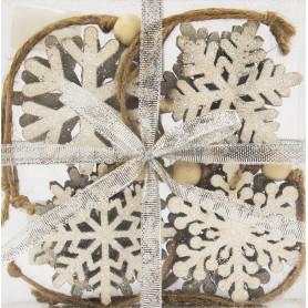 Набор ёлочных украшений «Снежинки», 6 см, дерево, цвет белый, 8 шт.