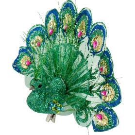 Украшение ёлочное «Павлин», цвет бирюзовый