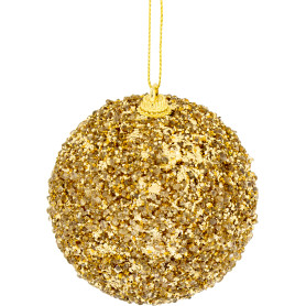 Шар ёлочный, 7.8 см, пластик, цвет золотистый