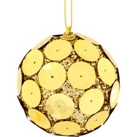 Шар ёлочный, 7.8 см, пластик, цвет золото