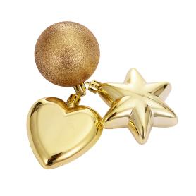 Набор ёлочных шаров, цвет золото, 3 шт.
