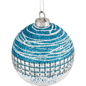 Шар ёлочный, 7.8 см, пластик, цвет голубой