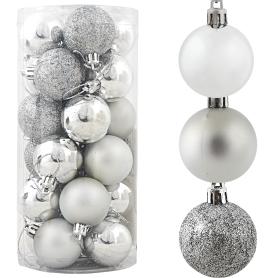 Набор ёлочных шаров 4 см цвет серебро, 24 шт.