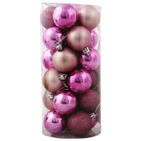 Набор ёлочных шаров 4 см цвет розовый, 24 шт.