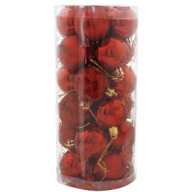 Набор ёлочных шаров 4 см цвет красный, 24 шт.